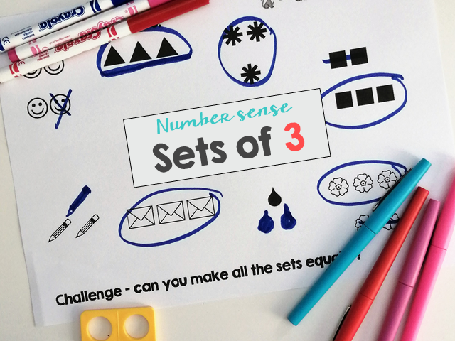 Make sets of 3 for Number sense and Maths mastery