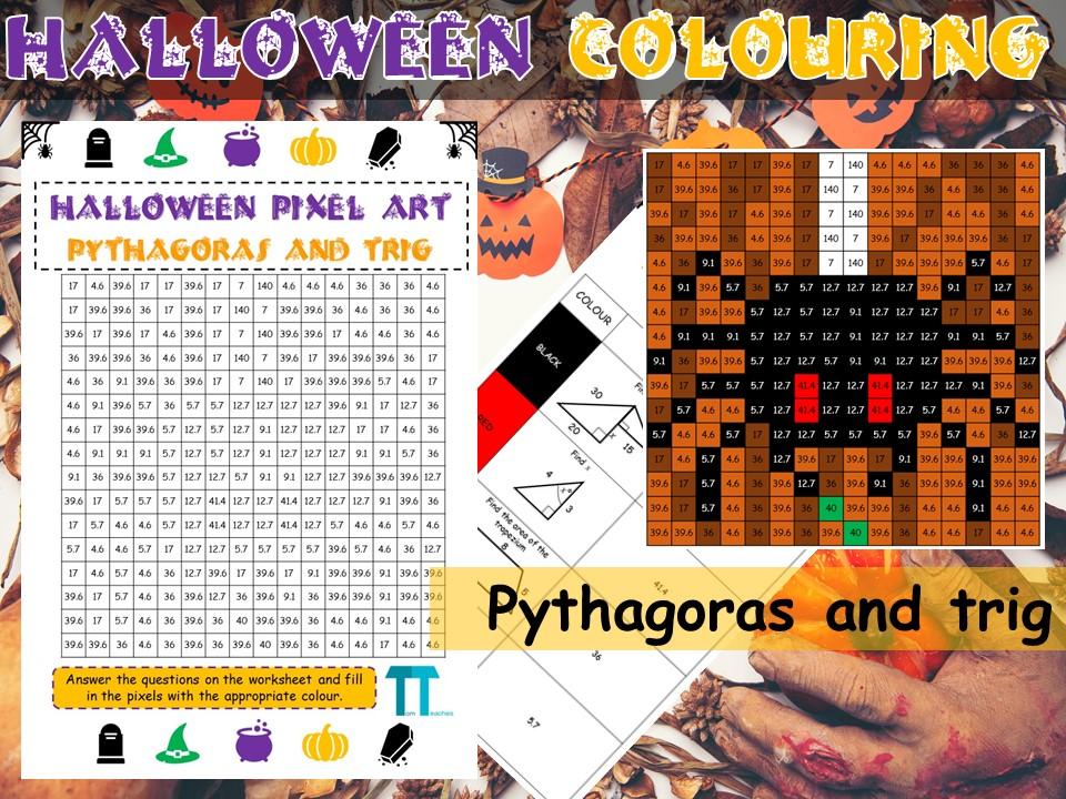 Halloween maths GCSE revision on pythagoras and trig