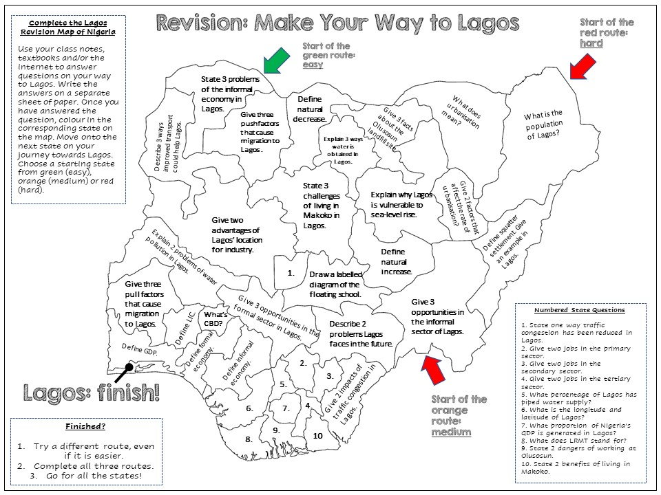 Lagos: AQA GCSE Differentiated Revision Map Activity