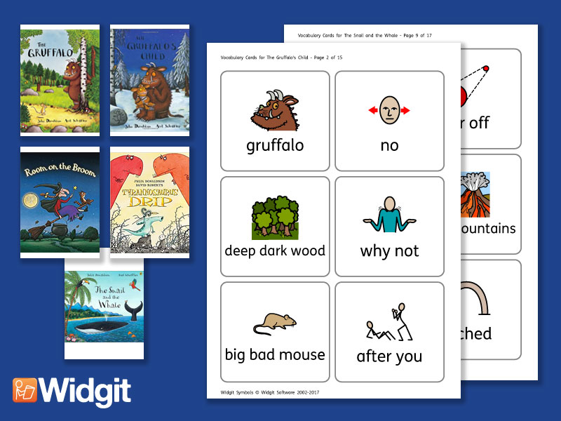 Big Books Pack 4 (Julia Donaldson stories) - Flashcards with Widgit Symbols