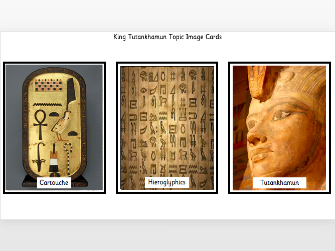 Tutankhamun Topic Image Cards