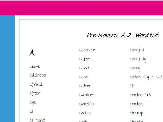 Word list for Pre-movers Cambridge exam CYLE