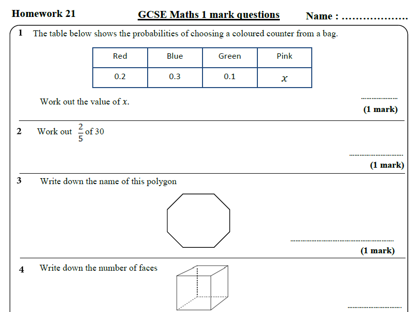 10 GCSE Maths Foundation Homework Revision (9-1) Part 3 -Includes all ANSWERS