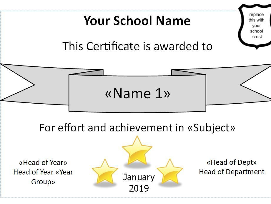 Spreadsheet to Create Multiple Certificates from the Whole School