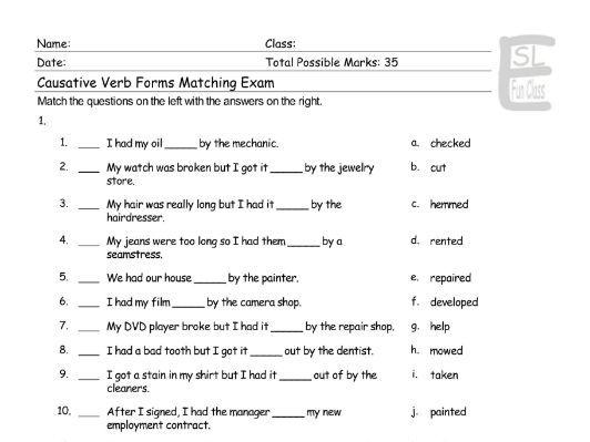 Causative Verb Forms Matching Exam