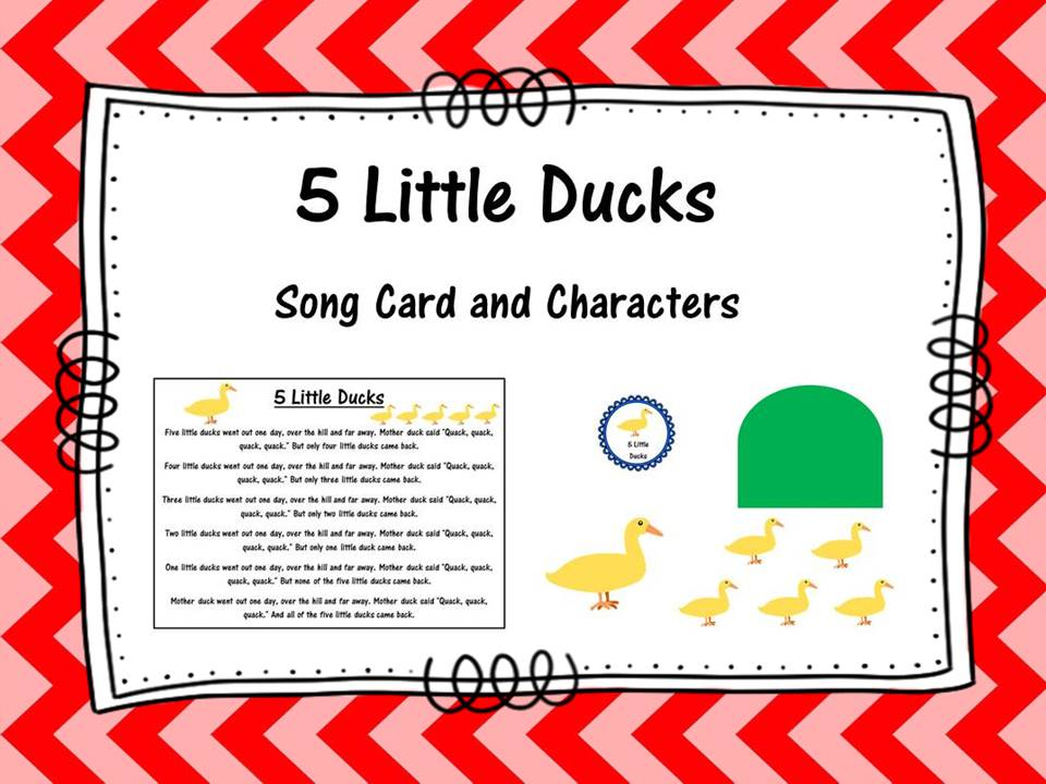 Five Little Ducks Song Cards and Characters