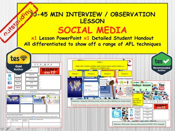 Social  Media : (Interview or Observation Lesson Resources) PSHE Citizenship.