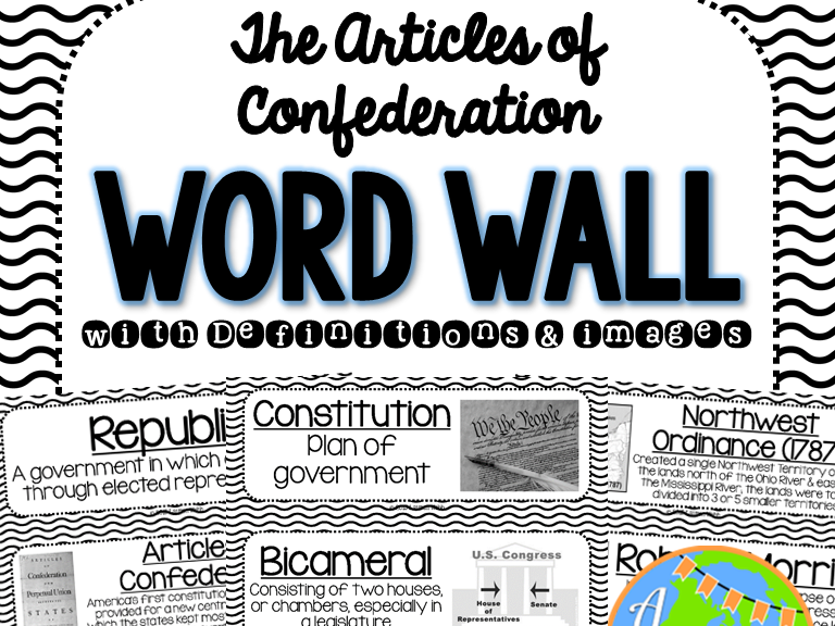Articles of Confederation Word Wall - Black and White