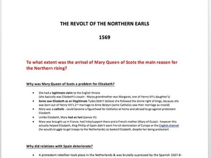 The Revolt of the Northern Earls Notes 1569 - A Level History TUDORS 1485-1603