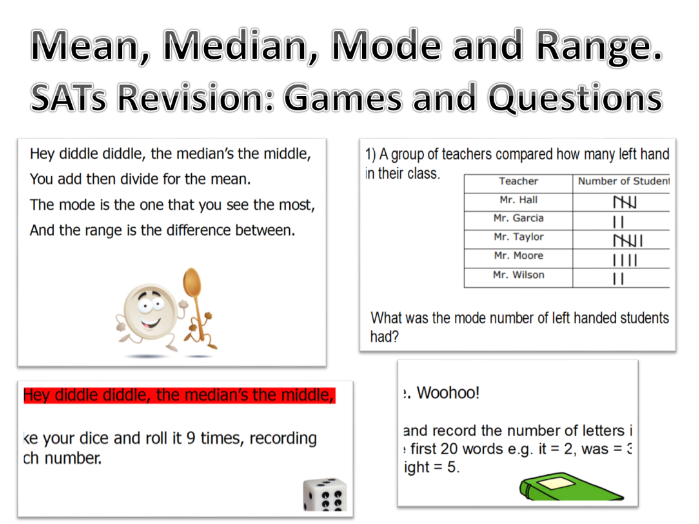 Mean, Median, Mode and Range Revision. Lots of Fun.