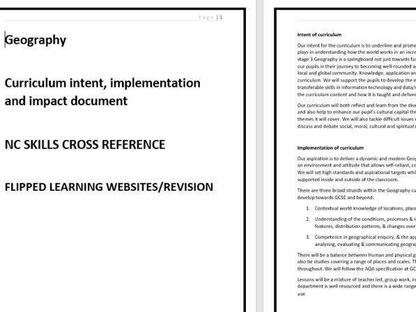 CURRICULUM INTENT/IMPLEMENTATION/IMPACT - GEOGRAPHY