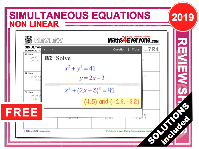 GCSE Revision (Simultaneous Equations - Non Linear) by ...