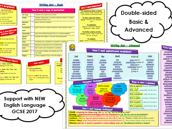 Writing Learning Mat - Basic & Advanced- For New GCSE English Language 2017