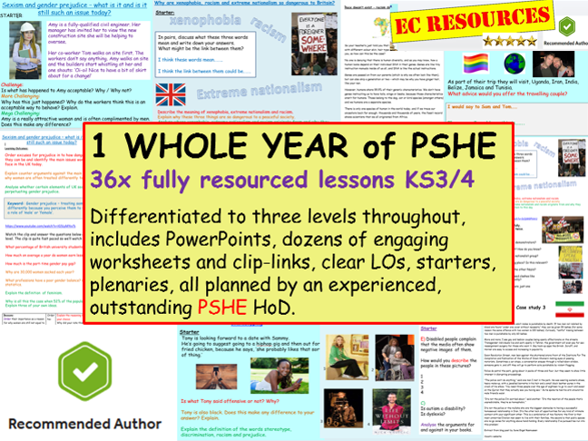 PSHE: PSHE - 1 YEARS WORTH