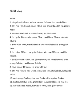 Kleidung (Clothing in German) Farbe worksheet 2