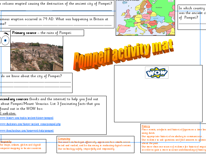 Pompeii activity mats and video links