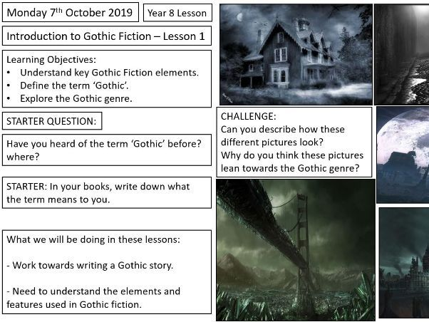 Gothic Fiction  (worksheets included) Lesson 1