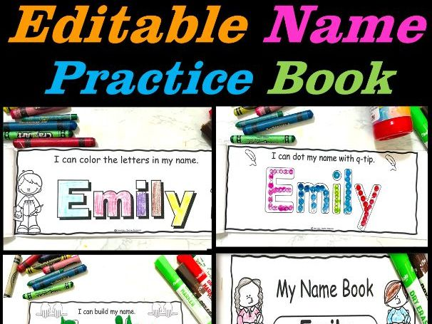 Names - Editable Name Practice Book - Name Activities   Back to School