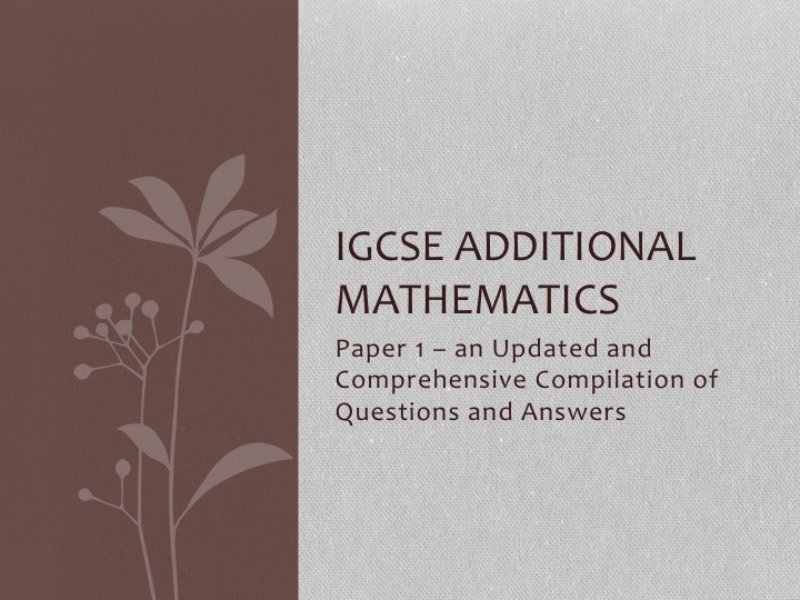 IGCSE AMath (0606) Sorted by Topics (UPDATED)