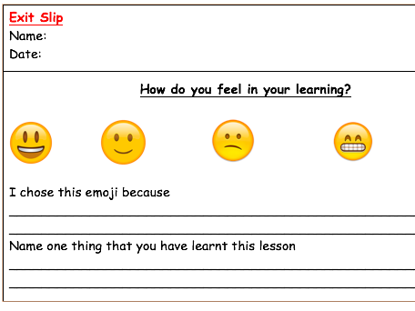 Emoji Exit Slips For Assessment By Laurabolton Teaching