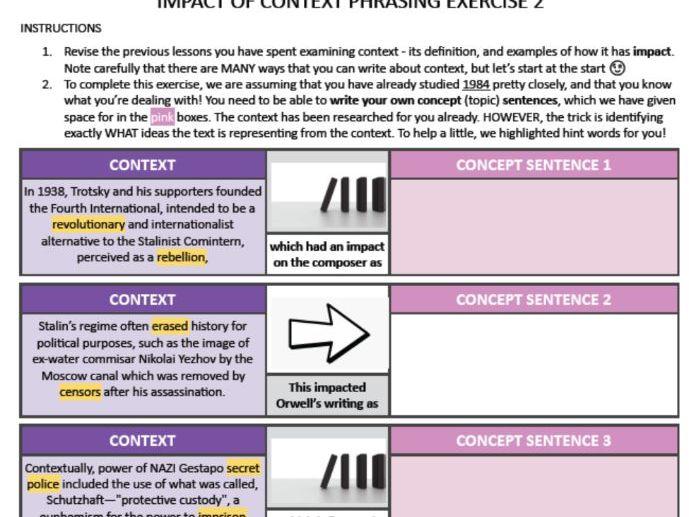 IBDP HSC AP English Language Literature Context 1984 Orwell IMPACT OF CONTEXT PHRASING 2 FREE