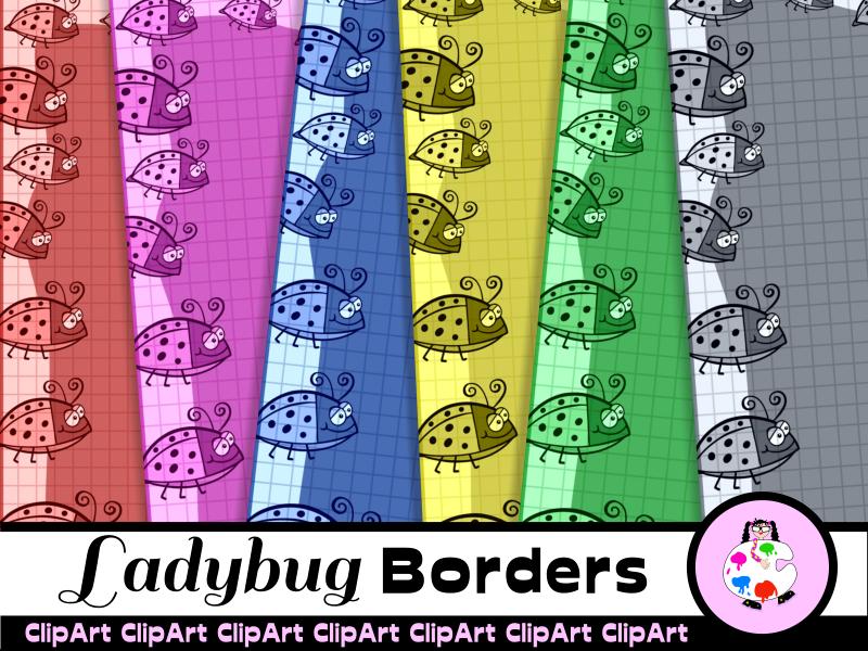 Ladybug Graph Paper Border Clip Art