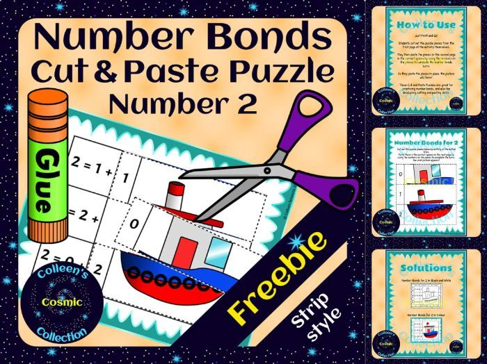FREEBIE Number Bonds Self-Checking Cut and Paste Strip Puzzles for number 2