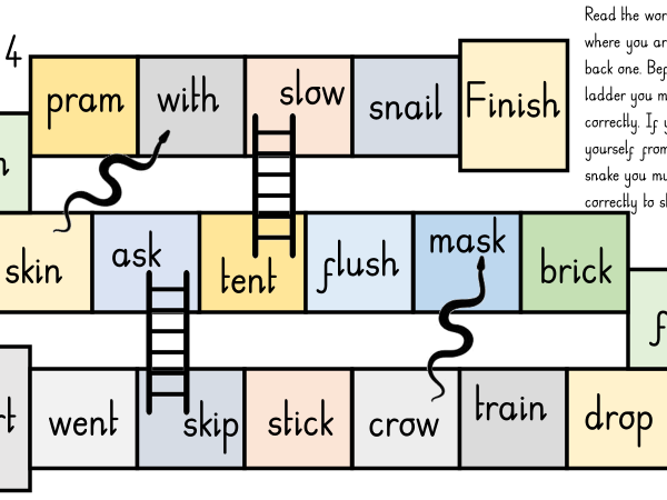 Phase 4 Phonics, Snakes and Ladders