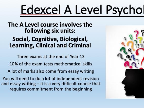 Edexcel A Level Psychology taster transition introduction session x3 social cognitive learning