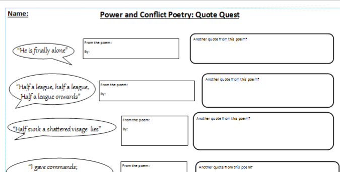 AQA Power and Conflict poetry - quote quest