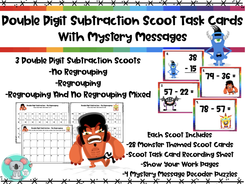 Double Digit Subtraction Scoot Task Cards With Mystery Messages - Monster Themed