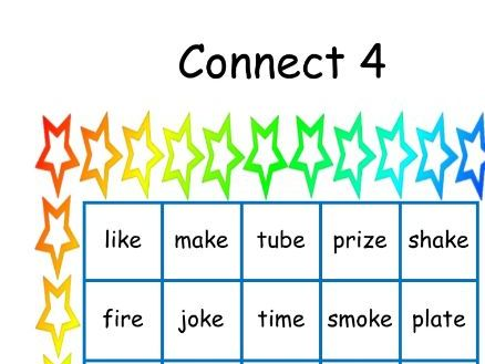 """Phase 5 """"Connect 4"""" reading game using words with split digraphs (a-e / o-e / u-e / i-e)"""