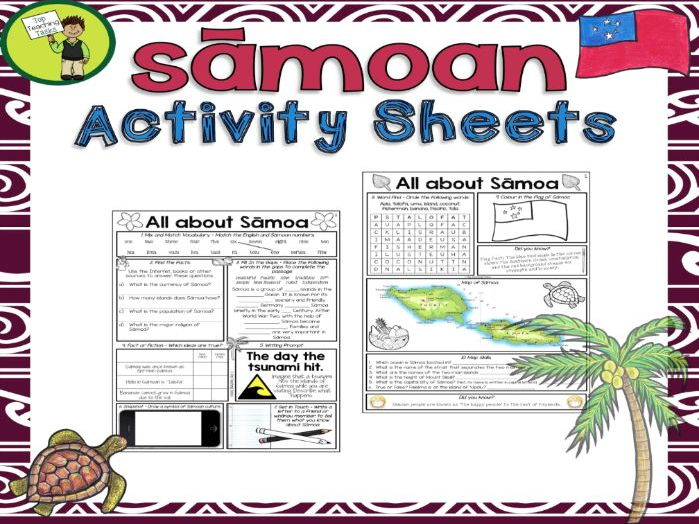 Sāmoa Activity Sheets - Reading and Writing Activities
