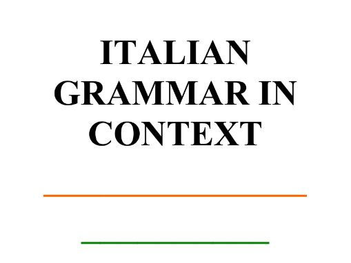 Italian Grammar in Context
