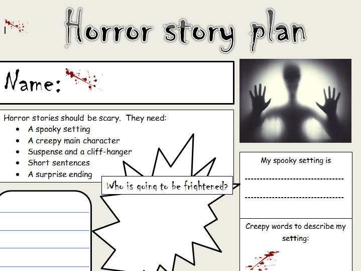 KS1 & 2 Horror story planning template
