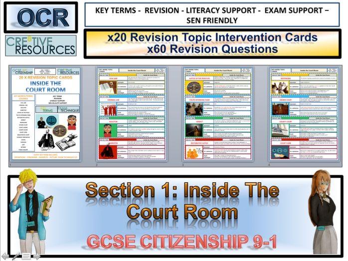 Citizenship GCSE 9-1 Court Room Revision Cards