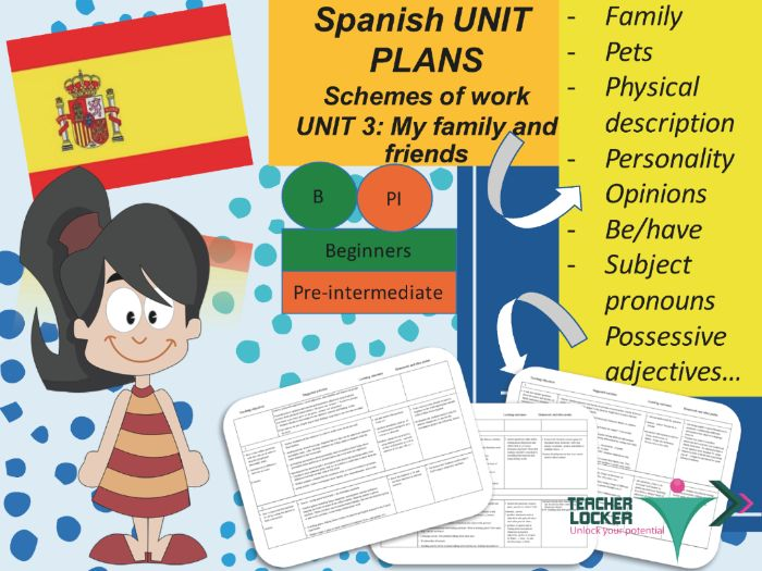 Spanish Unit plans for beginners / Pre-intermediate - 6 to 7 weeks of teaching - Unit 3 Familia