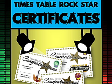 FREE Times Table Rock Star Certificates (Unofficial)