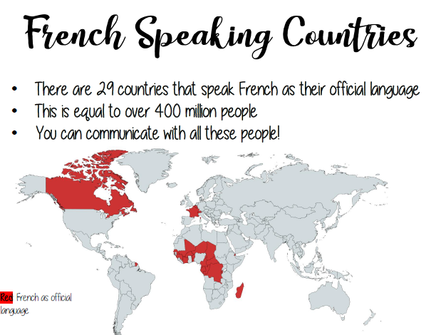 Display - French speaking country fact sheets & photos