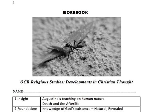 Developments in Christian Thought  WORKBOOK for Year One