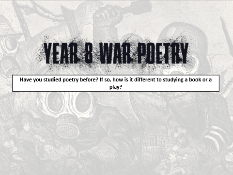 Year 8 War Poetry: Alternative Anthology