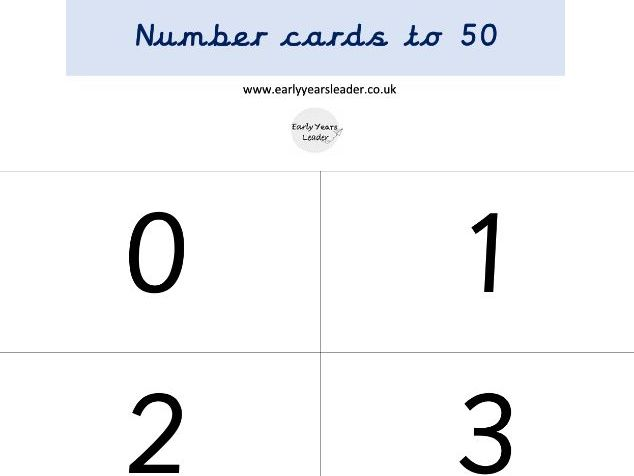 Number cards to 50