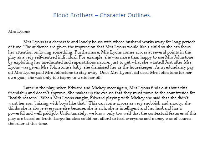 Blood Brothers - Mrs Lyons