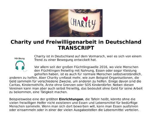 Charity & Volunteer Work German - Listening MP3 & Transcript