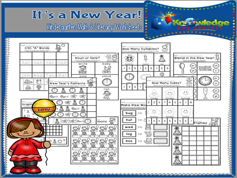 It's a New Year! Kindergarten Math & Literacy Worksheets
