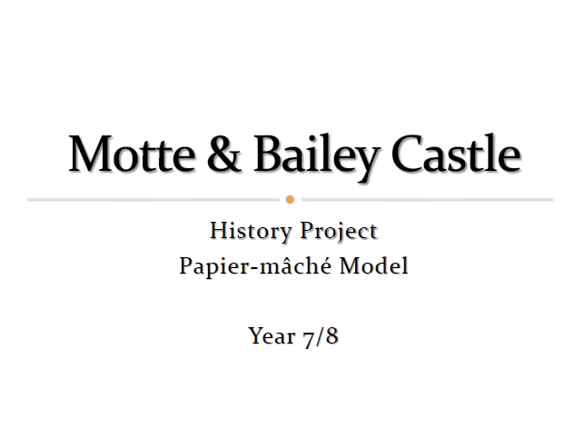 Motte & Bailey - Yr 8 (2017) History Project - Papier-mâché Model - Teaching Aid & Class Handout