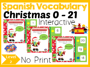 Spanish Christmas Number Game - Number words to Numbers 1 - 21 - No Print