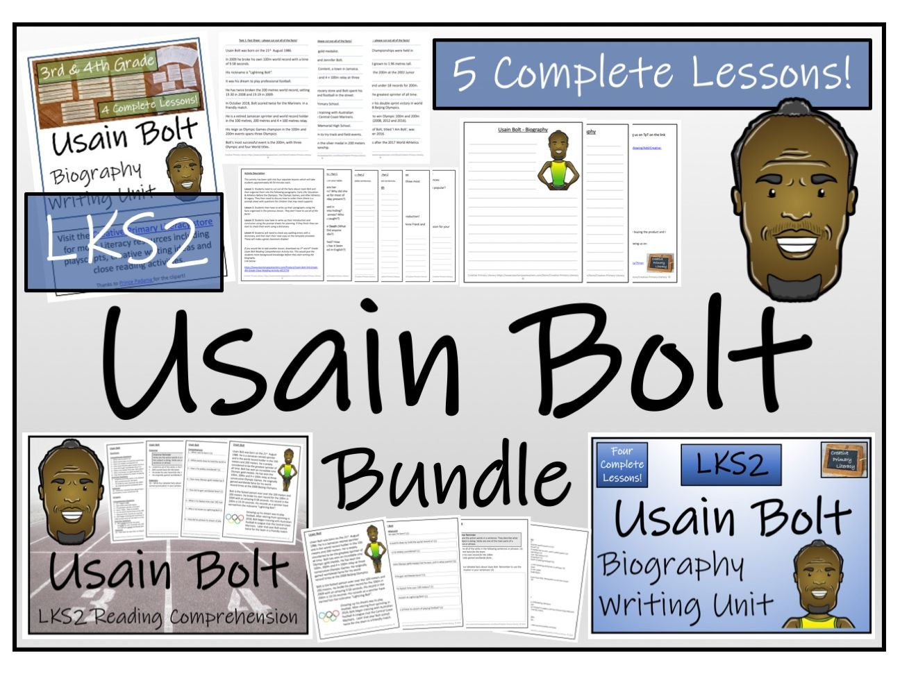 LKS2 Usain Bolt Reading Comprehension & Biography Bundle