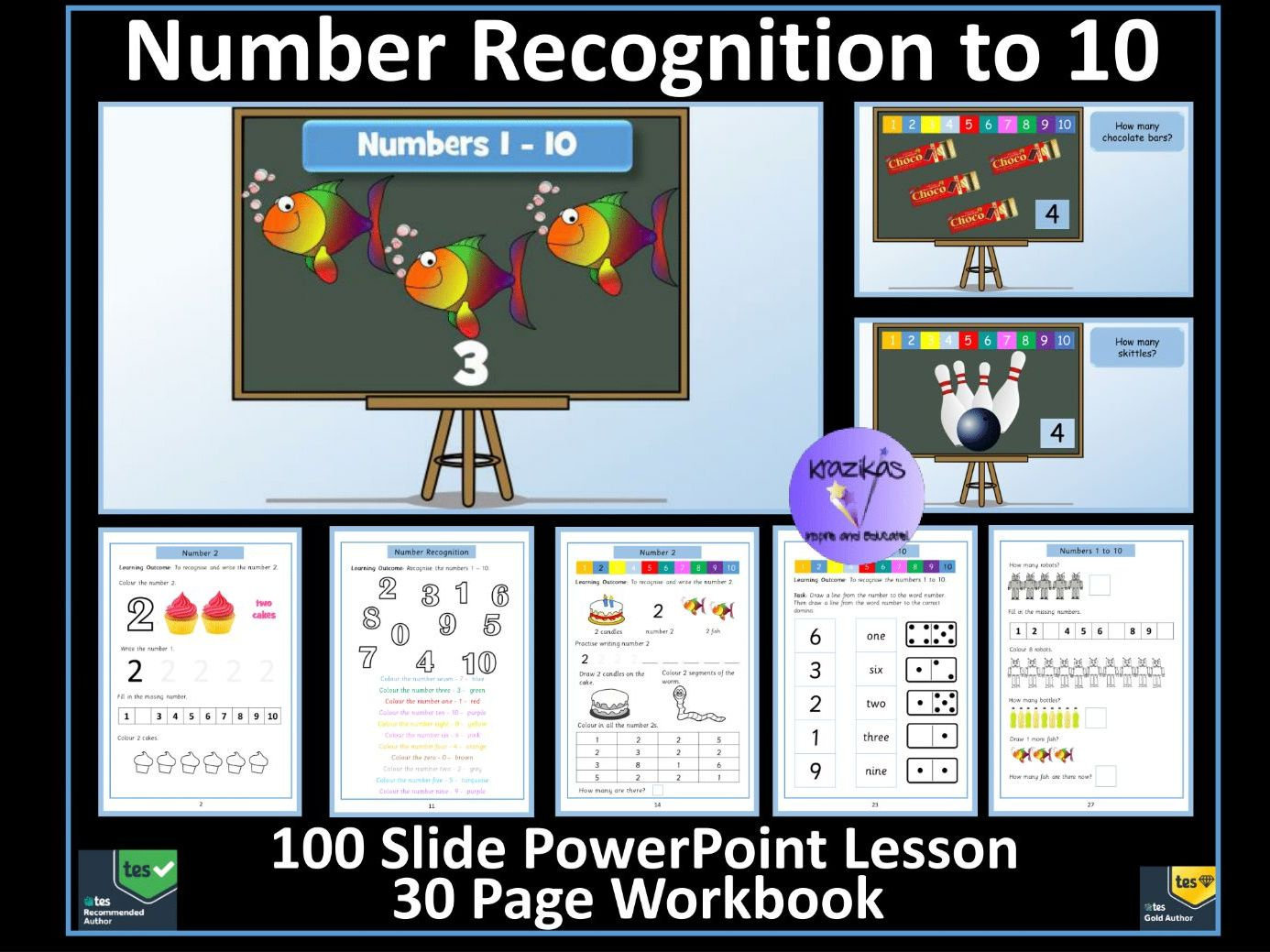 Number Recognition: Numbers 1 to 10 - PowerPoint Lesson and Workbook: