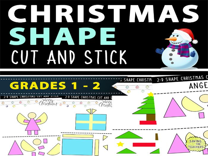 Christmas Shapes Cut and Stick Activity
